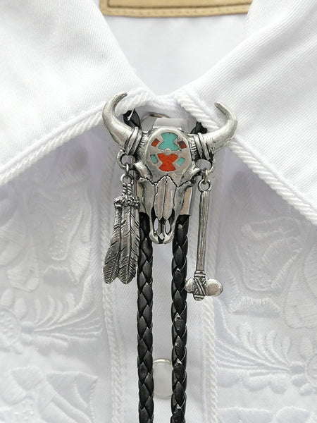 Bolo Tie DBT290 Turquoise Inlay Steer Skull w/ Feather close up