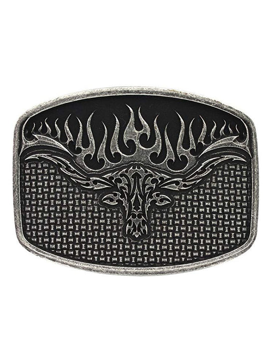 Montana Silversmiths A489RTS Woven Flaming Longhorn Attitude Buckle