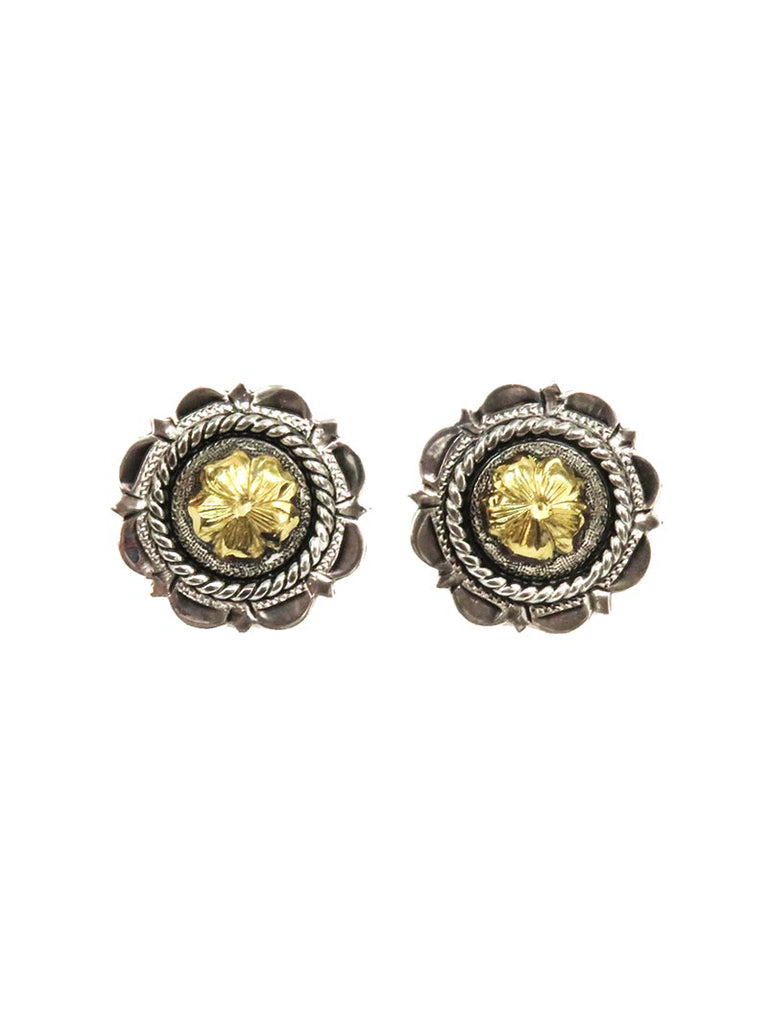 Bar V Ranch Silver Flower with CZ Center's Earrings 311-215