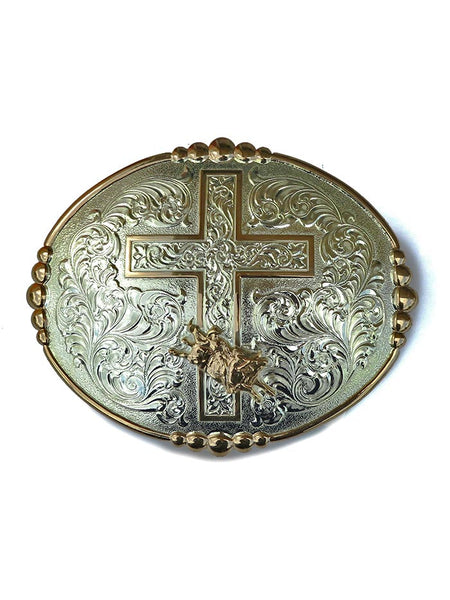 Crumrine Oval Bull Rider & Cross Belt Buckle 252033