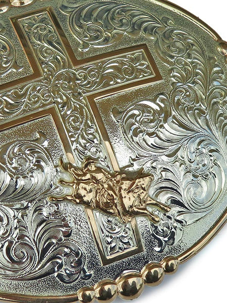 Crumrine Oval Bull Rider & Cross Belt Buckle 252033 Close-up
