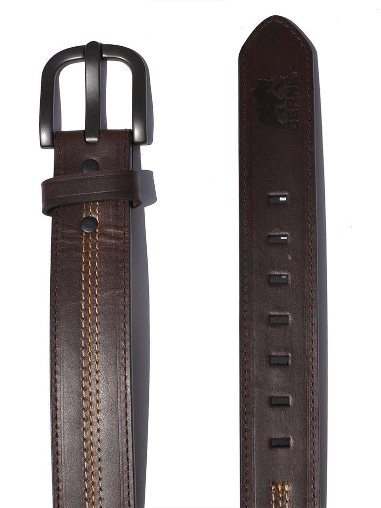 Berne Mens Leather Antique Brown Buckle Work Belt 7517500 Berne - J.C. Western® Wear