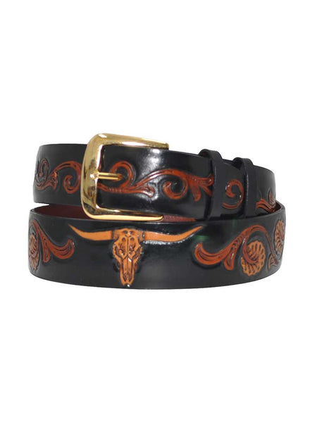 Black Jack USA Made Floral Hand-Tooled Longhorn Western Belt Black Jack Boots - J.C. Western® Wear