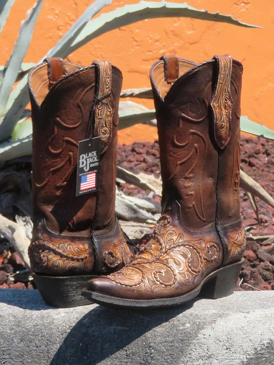 Black Jack Mens Hand-Tooled Antique Tan Brown Western Boots HT-312 54 Pair