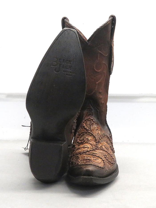 Black Jack Mens Hand-Tooled Antique Tan Brown Western Boots HT-312 54 sole