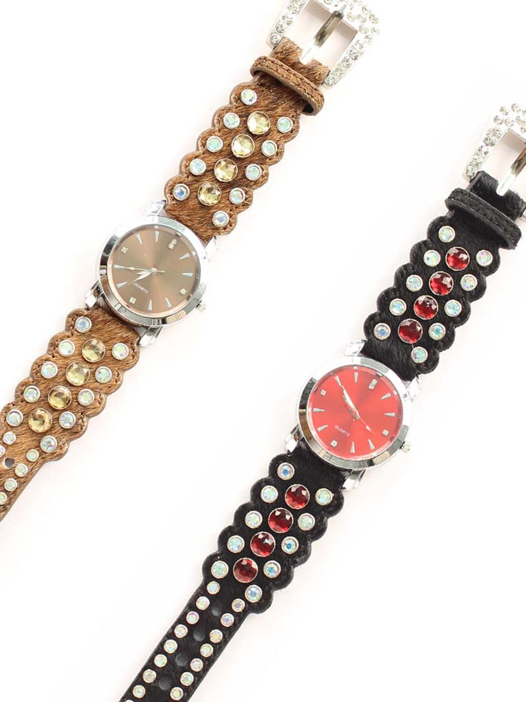 Blazin Roxx Hair-on-Hide Rhinestone Western Watch 3100401 3100402