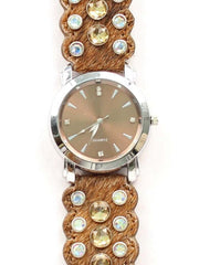 Blazin Roxx Hair-on-Hide Rhinestone Western Watch 3100401 3100402 Brown