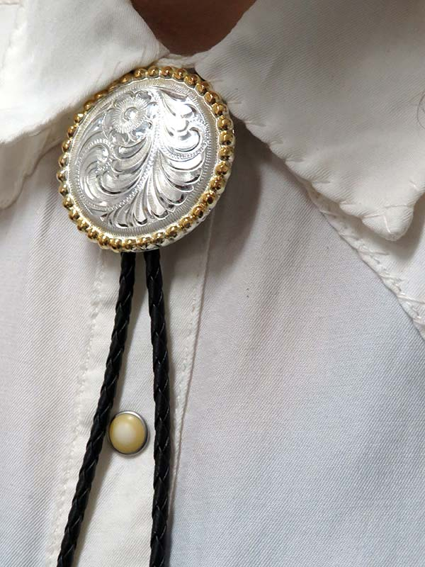Rockmount Engraved Gold Trim Concho Bolo Tie 43819 Front