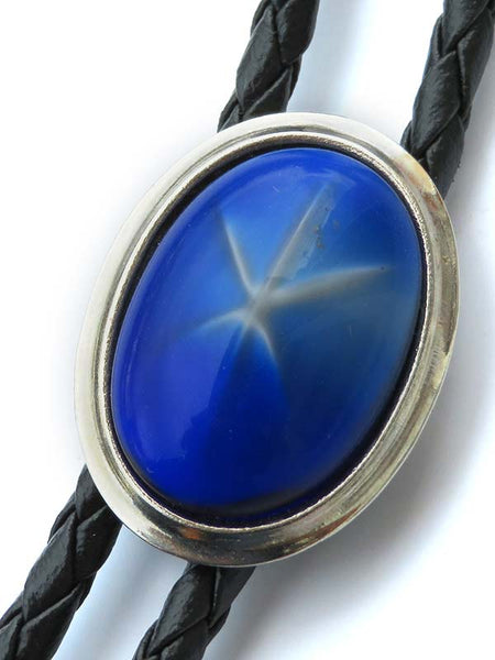 Rockmount Oval Glass Blue Star Bolo Tie 46059 close up