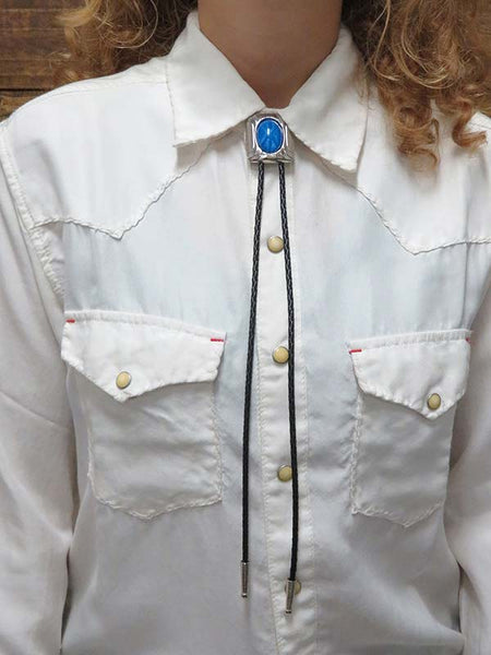 Rockmount Oval Glass Blue Starburst Bolo Tie 46139 with person