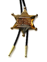 Sheriff Badge Gold Bolo Tie BT-1572-G