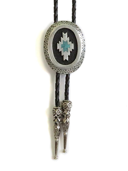 Aztec Antique Silver Classic Bolo Tie BT-257 Front at JC Western Wear