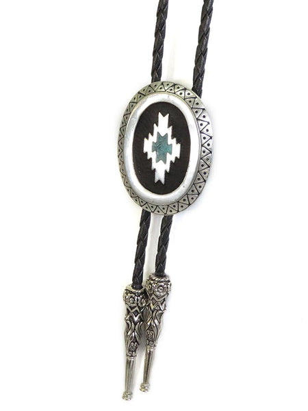 Aztec Antique Silver Classic Bolo Tie BT-257 close up