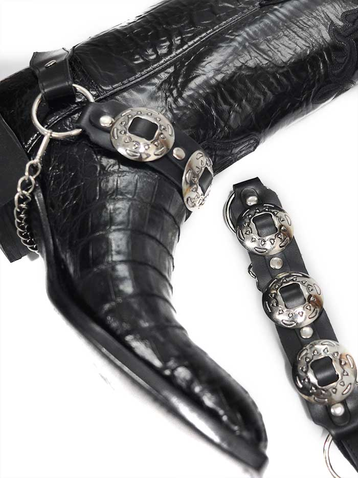 Boot Strap Black Leather with Antique Silver Conchos J.C. Western® Wear - J.C. Western® Wear