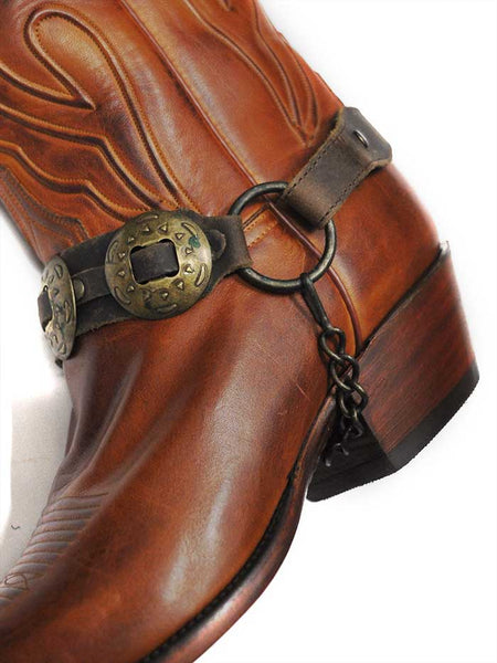 Boot Strap Brown Leather Antique Gold Conchos J.C. Western® Wear - J.C. Western® Wear