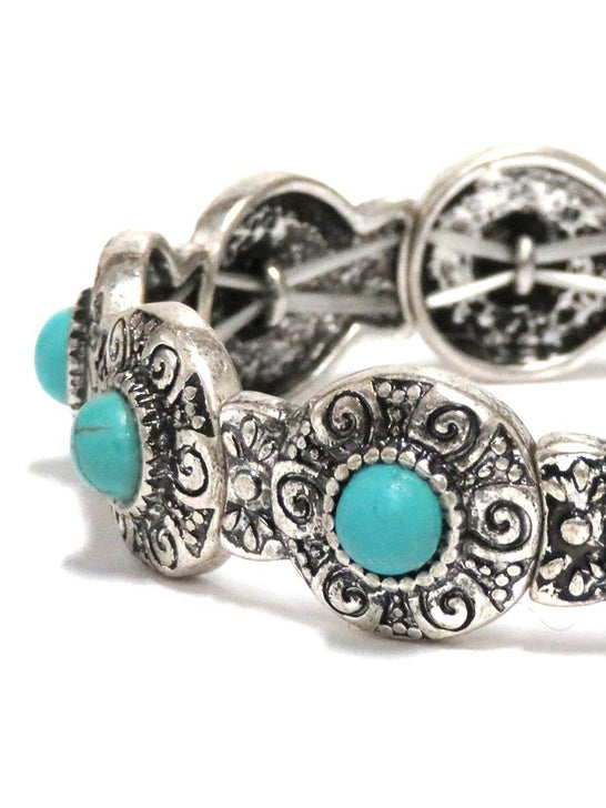 Women's Turquoise Engraved Stretch Bracelet JCB105 Close Up