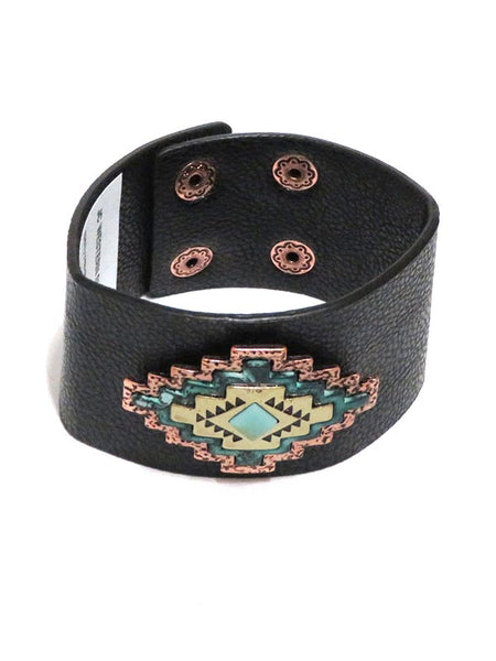 Women's Southwest Concho Leather Cuff Bracelet JCB107 Front