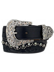 Tony Lama Womens Kaitlyn Crystal Leather Western Belt C50493 Black