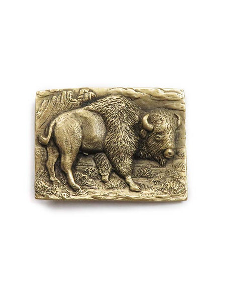Brass Cast Buffalo USA Made Rectangular Belt Buckle 5715 front