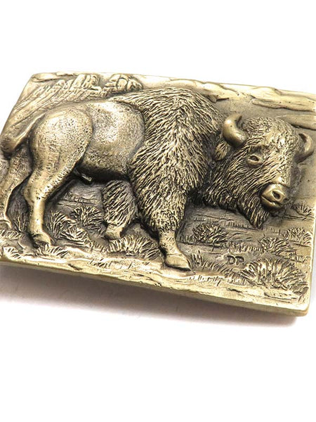 Brass Cast Buffalo USA Made Rectangular Belt Buckle 5715 close up