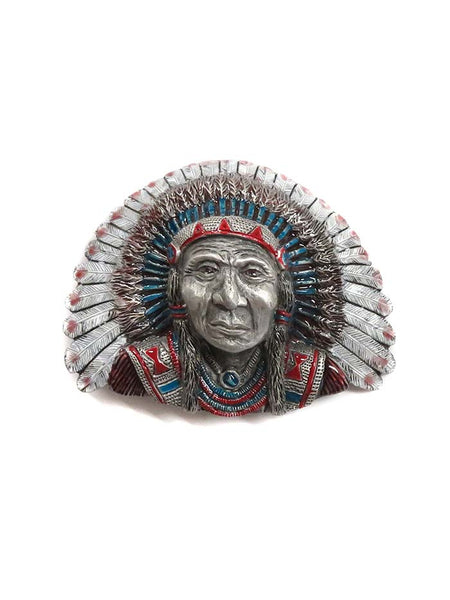 3-D Painted Indian Chief USA Made Western Belt Buckle 5-5721