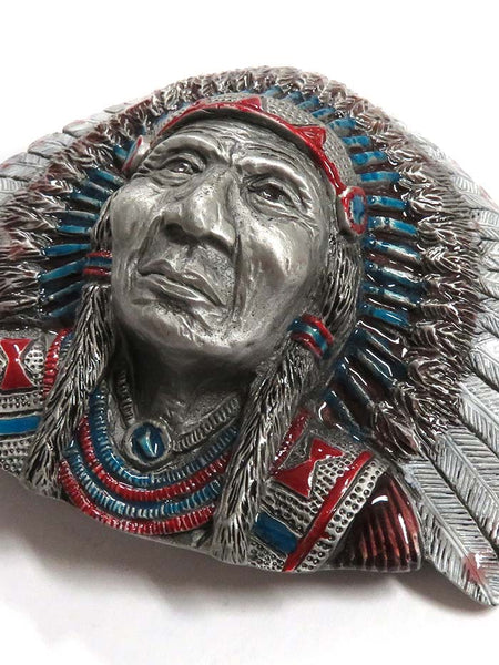 3-D Painted Indian Chief USA Made Western Belt Buckle 5-5721 Side Angle