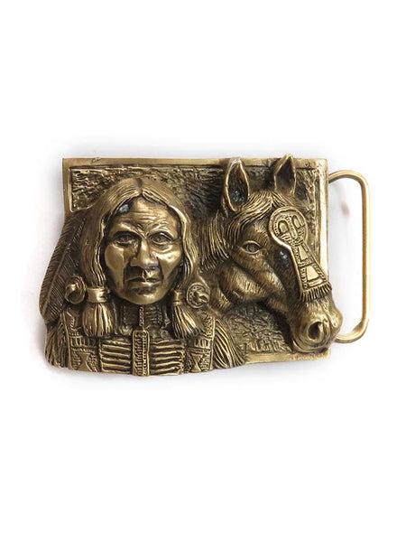 Brass Cast Indian with Horse Head USA Made Belt Buckle 5722 front