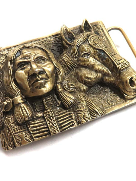 Brass Cast Indian with Horse Head USA Made Belt Buckle 5722 close up