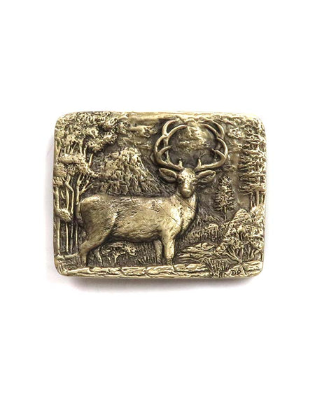 Brass Cast Deer Buck USA Made Western Belt Buckle 5750 front