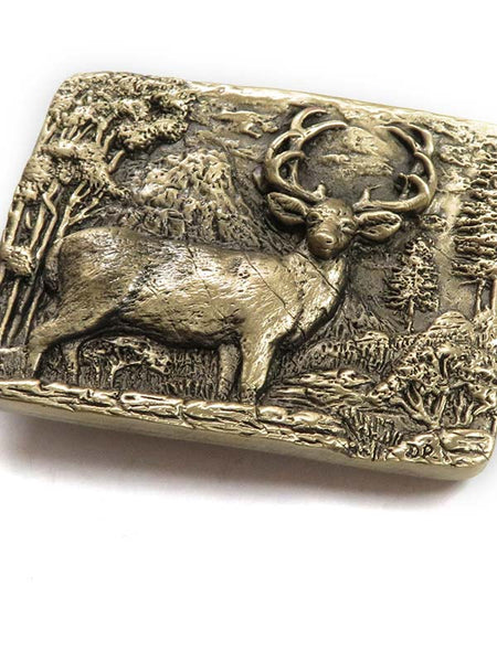 Brass Cast Deer Buck USA Made Western Belt Buckle 5750 close up