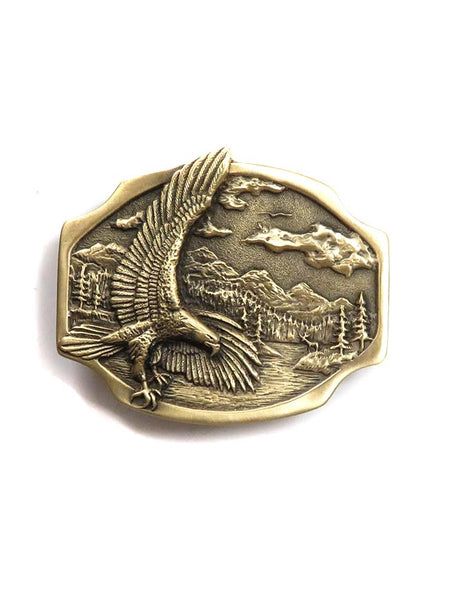 Brass Cast Eagle Scene USA Made Oval Belt Buckle 5881 front