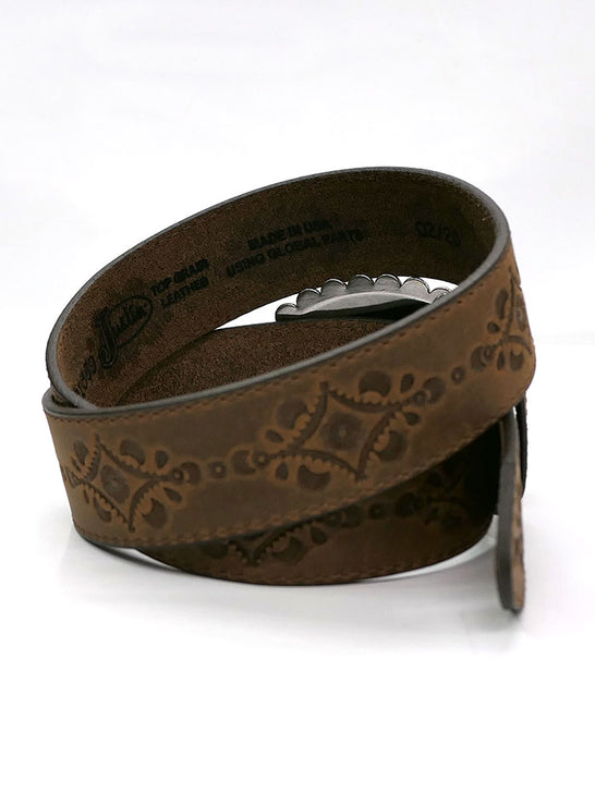 Justin C21369 Womens Navajo Heart USA Leather Belt Aged Bark Inside