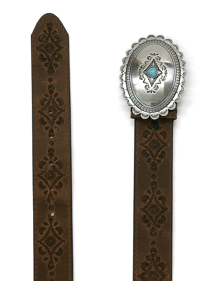 Justin C21369 Womens Navajo Heart USA Leather Belt Aged Bark Front View