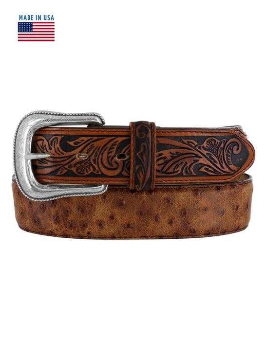 Tony Lama C42525 Mens Rustic Ostrich Leather Belt USA Brown Front