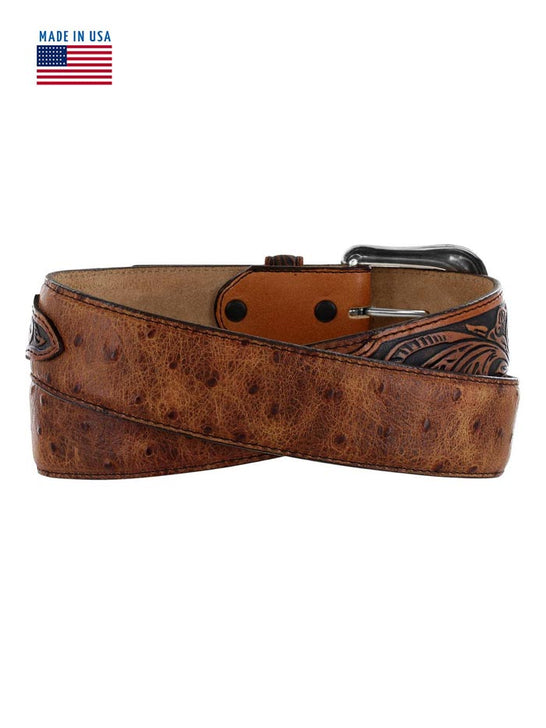 Tony Lama C42525 Mens Rustic Ostrich Leather Belt USA Brown back