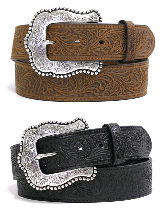Tony Lama C50733 C50739 Womens Layla Floral Embossed Western Belt Brown or Black American Made Leather belt