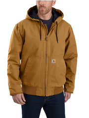 Carhartt 104050 Mens Washed Duck Insulated Active Jac Carhartt Brown Front