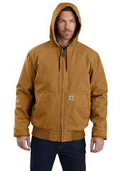 Carhartt 104050 Mens Washed Duck Insulated Active Jac Carhartt Brown Front with hood up