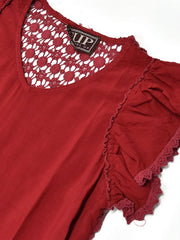 Cowgirl Up CG90805 Embroidery Crochet Hem Vintage Washed V-Neck Top Burgundy close up