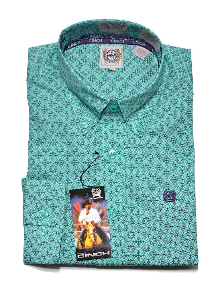 Cinch Mens Geometric Print Turquoise LS Button Down Shirt MTW1104521