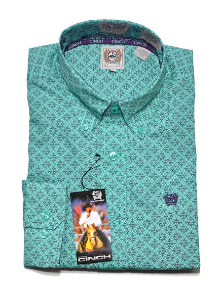 Cinch Mens Geometric Print Turquoise LS Button Down Shirt MTW1104521 (D)