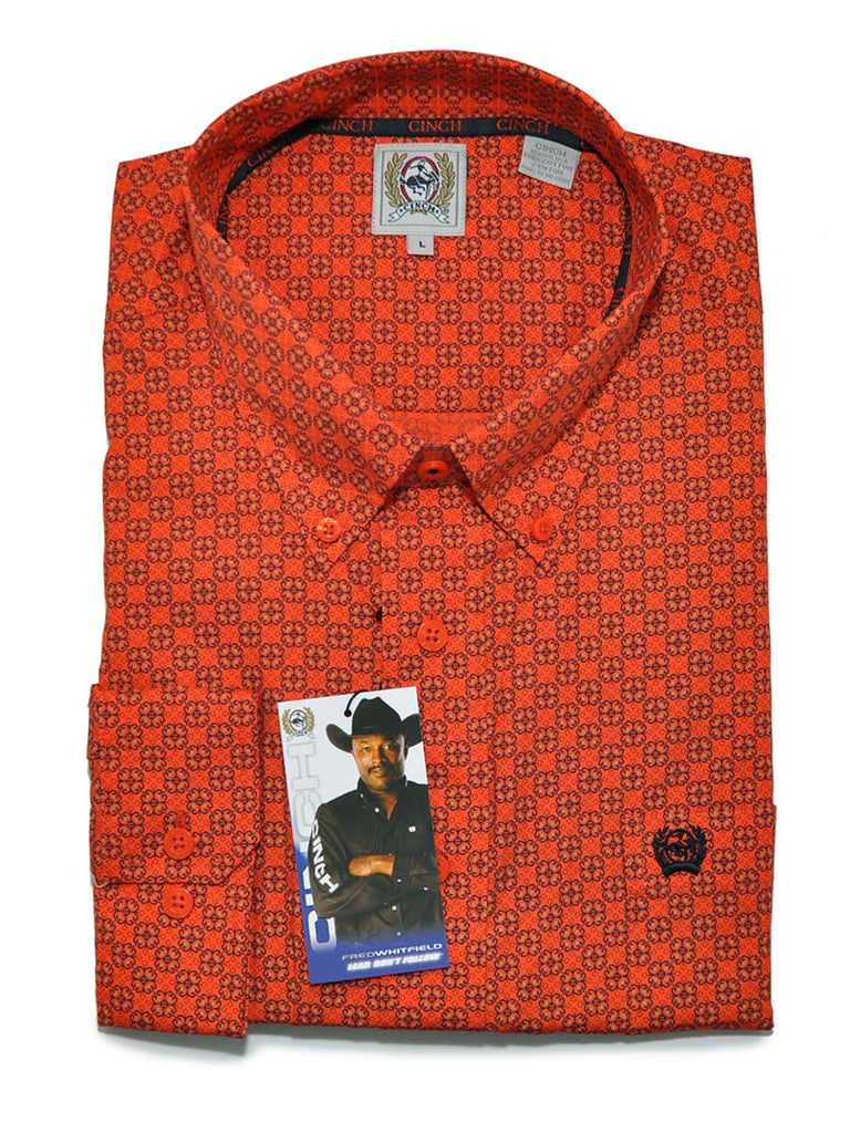 Cinch Mens Geometric Print Orange LS Button Down Shirt MTW1104532