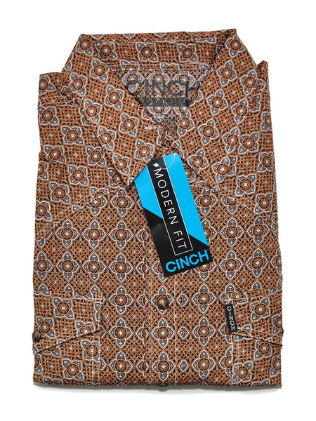 Cinch Mens Modern Fit LS Geo Print Snap Shirt MTW1312020 (D)