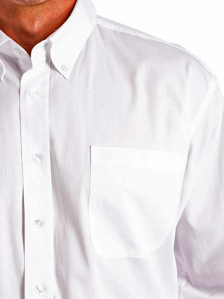Cinch Mens Fine Weave Solid White Shirt MTW10320020