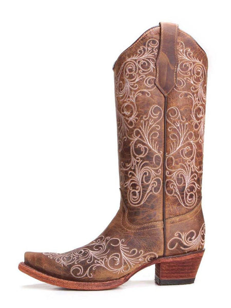 Circle G L5418 Womens Scrolling Embroidered Burnished Snip Toe Boots Brown
