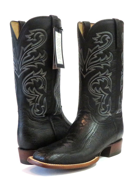 Lucchese CL1018.W8 Mens STEWART Ostrich Leg Cowboy Boots Black made in USA