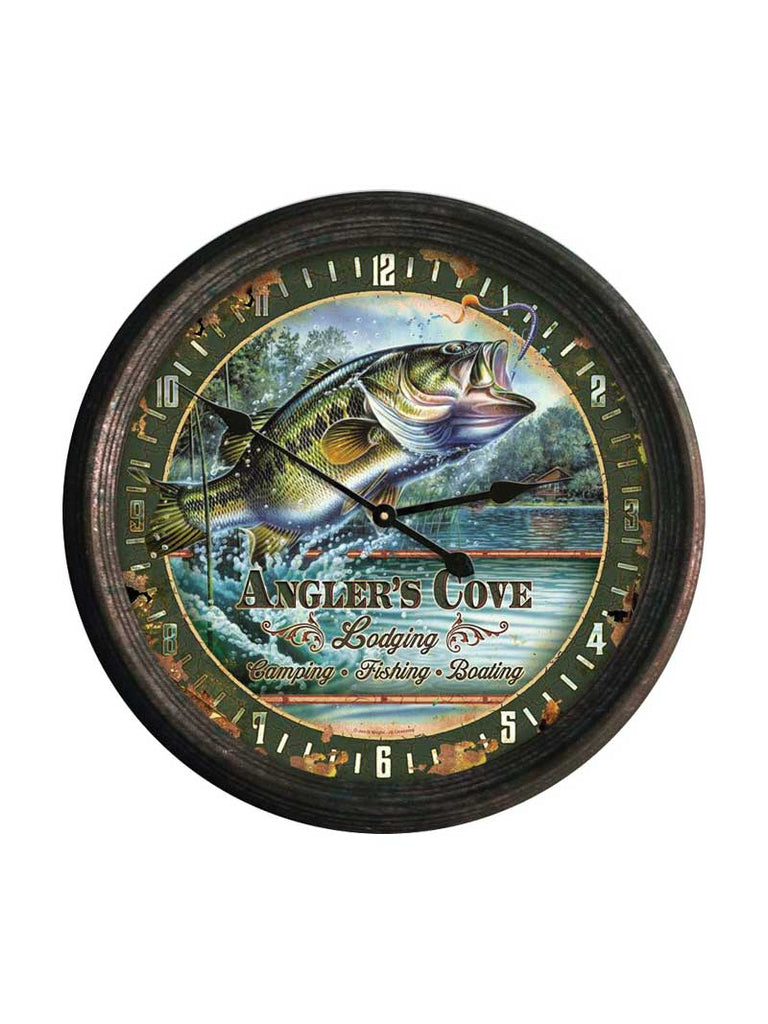 "15"" Rivers Edge Rusted Rusted Bass Clock CLOCK1029 J.C. Western® Wear - J.C. Western® Wear"