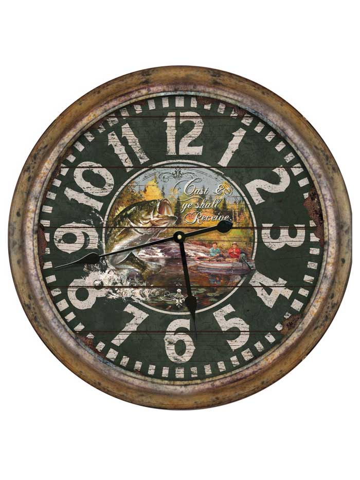 "26"" Rivers Edge Distressed Fishing Clock CLOCK1030 J.C. Western® Wear - J.C. Western® Wear"