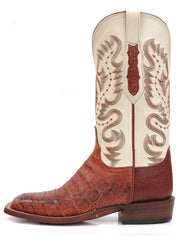 Lucchese CY1005.W8 Mens Cognac Burnish Caiman Belly Boots  Side View
