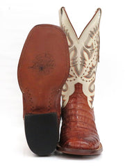 Lucchese CY1005.W8 Mens Cognac Burnish Caiman Belly Boots  Front and Sole